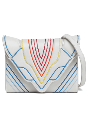 Elena Ghisellini Felina Embroidered Textured-leather Shoulder Bag Woman Off-white Size --