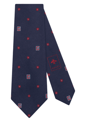 Gucci tie with flower and G detail - Blue