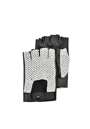 Black Leather and Cotton Men's Driving Gloves