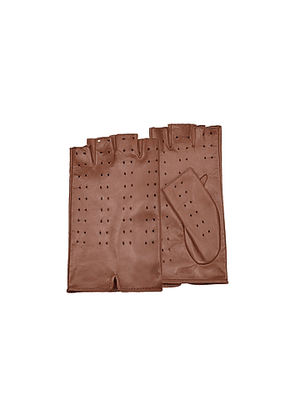 Women's Tan Perforated Fingerless Leather Gloves
