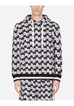 Dolce & Gabbana Sweatshirts - COTTON HOODIE WITH ALL-OVER D & G PRINT BLACK