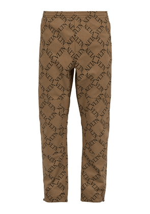 Valentino - Vltn Print Cotton Twill Chinos - Mens - Beige