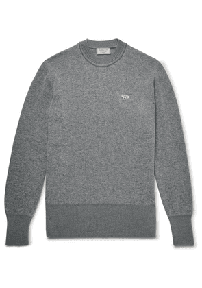 Maison Kitsuné - Logo-appliquéd Two-tone Wool Sweater - Gray