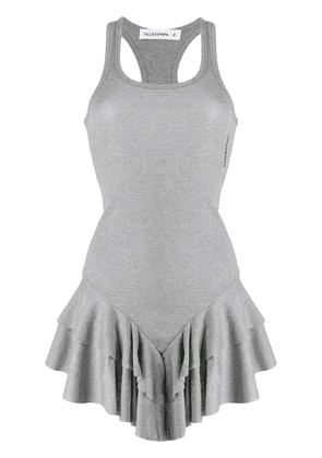 Filles A Papa Sonja ruffled hem dress - Grey