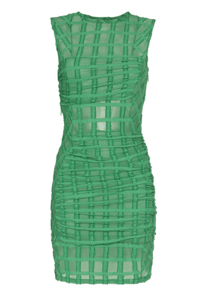 Eckhaus Latta mesh check mini-dress - Green