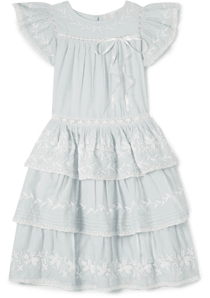 LoveShackFancy Kids - Callie Tiered Embroidered Cotton-voile Dress - Blue