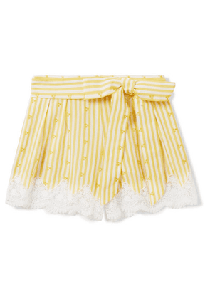 Miguelina Kids - Ages 4 - 12 Liana Crocheted Striped Cotton-voile Shorts