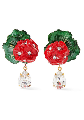 Dolce & Gabbana - Portofino Crystal, Resin And Gold-tone Clip Earrings - Red