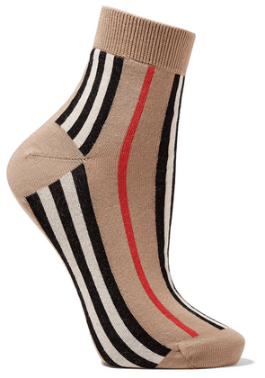 Burberry - Striped Cotton-blend Socks - Beige