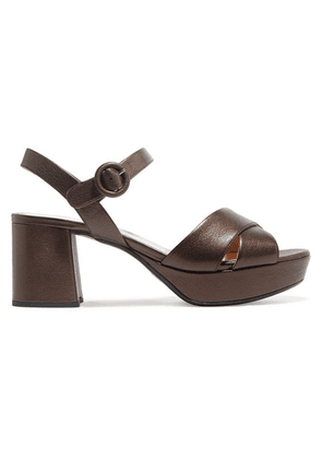 Prada - 65 Metallic Leather Platform Sandals - Bronze