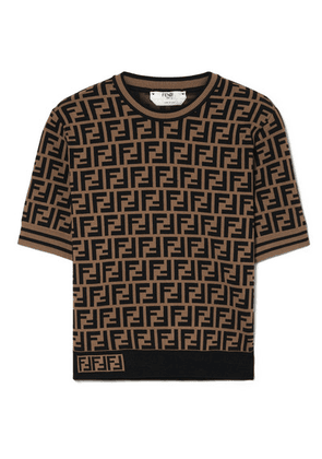 Fendi - Jacquard-knit Sweater - Brown