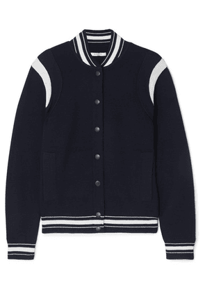 Givenchy - Appliquéd Striped Wool-blend Bomber Jacket - Navy