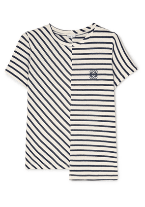 Loewe - Asymmetric Embroidered Striped Cotton-jersey T-shirt - Navy
