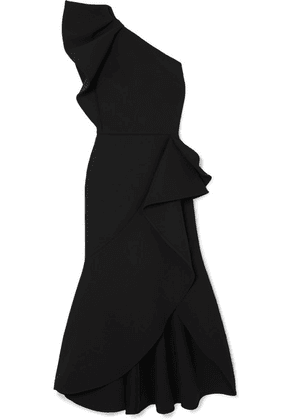 Elie Saab - One-shoulder Asymmetric Ruffled Crepe Midi Dress - Black