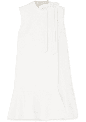 Valentino - Bow-detailed Ruffled Wool-blend Crepe Mini Dress - Ivory