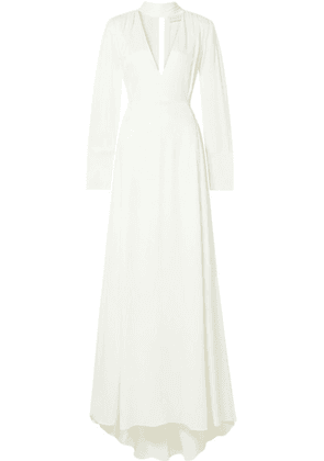 Les Héroïnes - The Ada Smocked Satin Gown - Ivory