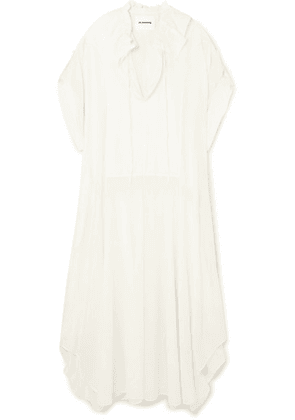 Jil Sander - Gathered Ruffled Cotton And Silk-blend Dress - Off-white
