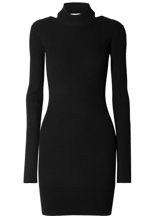 Helmut Lang - Open-back Ribbed-knit Mini Dress - Black