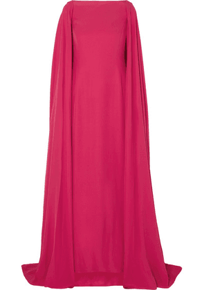 Carolina Herrera - Cape-effect Silk Gown - Red