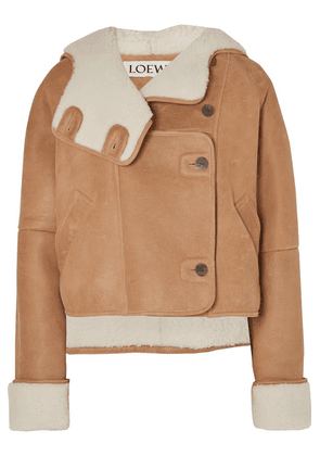 Loewe - Cropped Shearling Hooded Jacket - Brown