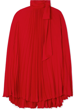 Valentino - Pussy-bow Cape-effect Pleated Georgette Mini Dress - Red