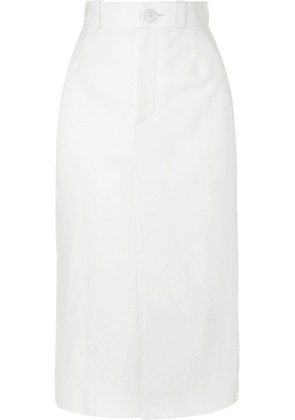 Balenciaga - Leather Midi Skirt - White
