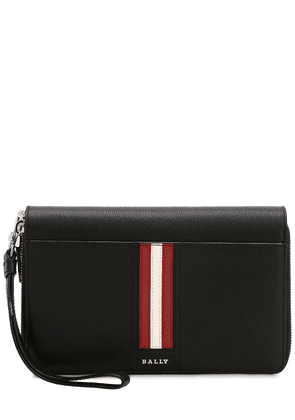 Logo Stripe Leather Travel Wallet