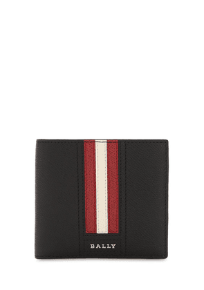 Logo Stripe Leather Billfold Coin Wallet