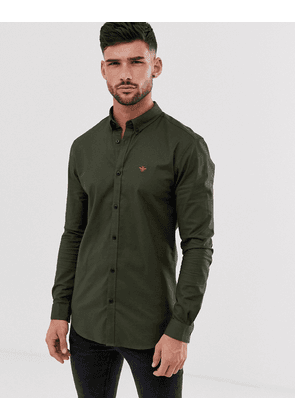 River Island muscle fit oxford shirt in khaki