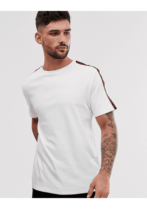 River Island t-shirt in white with greek taping