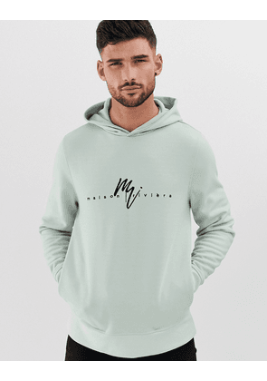 River Island hoody with logo print in mint