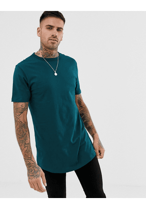 River Island t-shirt with double hem in teal