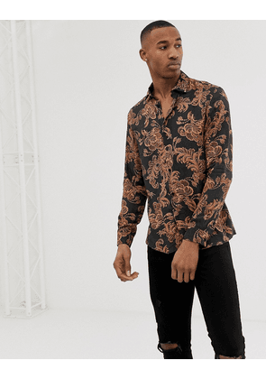 River Island slim fit shirt with baroque print in black