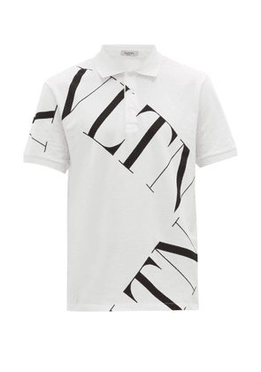 Valentino - Vltn Grid Print Cotton Piqué Polo Shirt - Mens - White