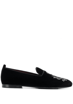 Dolce & Gabbana logo embroidered loafers - Black