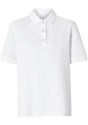 Burberry Monogram Motif Cotton Piqué Polo Shirt - White