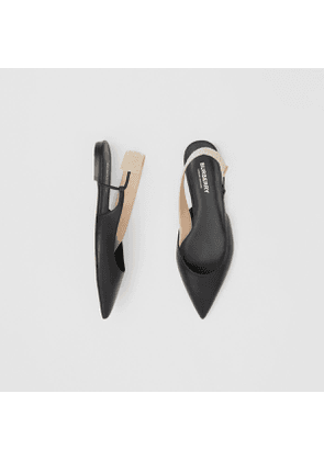 Burberry Logo Detail Leather Slingback Flats, Size: 40.5, Black