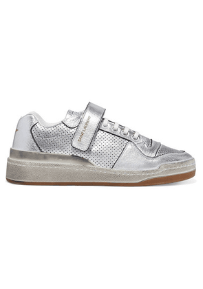 SAINT LAURENT - Travis Logo-print Distressed Perforated Metallic Leather Sneakers - Silver