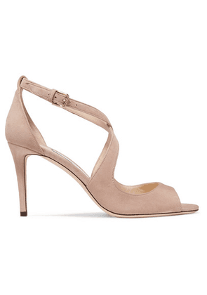 Jimmy Choo - Emily 85 Suede Sandals - Neutral