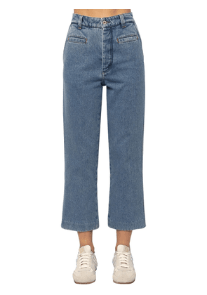 Cropped Fisherman Cotton Denim Jeans