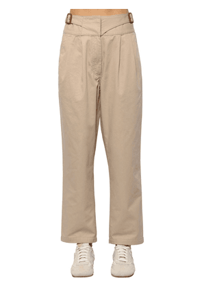 Cropped Cotton Canvas Chino Pants