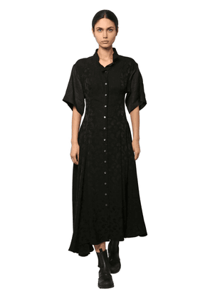 Satin & Linen Jacquard Shirt Dress