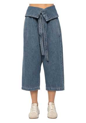 Oversize Crop Cotton Denim Jeans