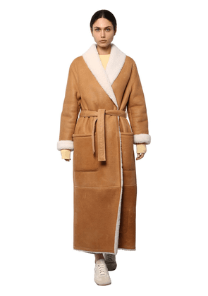Long Hooded Shearling Coat