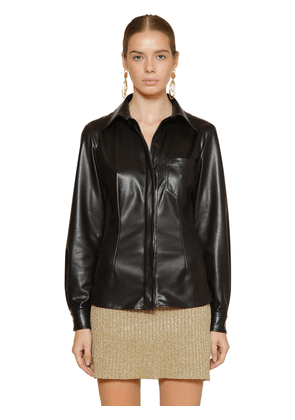 Fitted Faux Leather Shirt