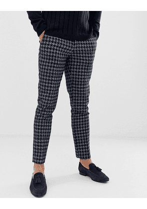 River Island skinny smart trousers in navy pupstooth