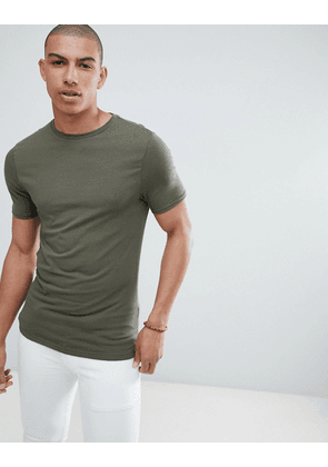 River Island muscle fit t-shirt in khaki