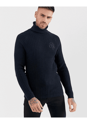 River Island ribbed roll neck jumper in navy