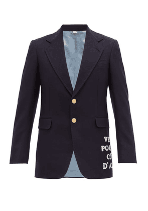 Gucci - Embroidered Appliqué Single Breasted Wool Blazer - Mens - Navy