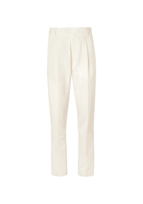Caruso - Cream Cotton, Linen And Silk-blend Suit Trousers - Neutral